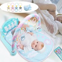 3 in1 Newborn Infan Baby Play Mat Gym Floor Activity Piano Music Musical Light Toy Set wiith Controller,Light Blue/Pink