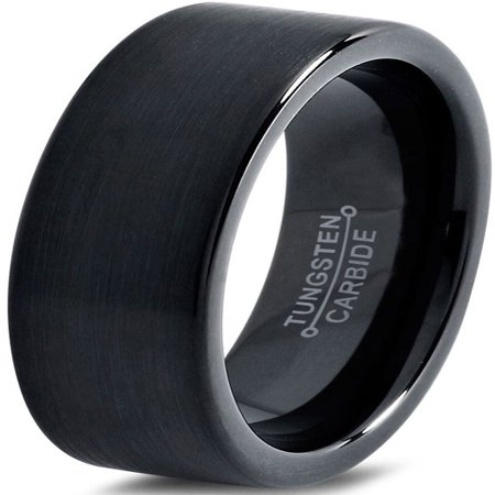 Charming Jewelers Tungsten Wedding Band Ring 7mm for Men Women Comfort Fit Black Pipe Cut Brushed Lifetime Guarantee
