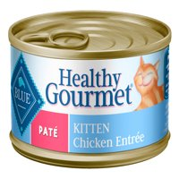 Blue Buffalo Healthy Gourmet Natural Kitten Pate Wet Cat Food, Chicken Entree, 3-oz cans