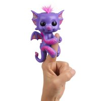 Fingerlings - Glitter Dragon - Kaylin (Purple with Pink) - Interactive Baby Collectible Pet - By WowWee