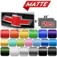 "2Pcs 5""x10"" Chevy Emblem Bowtie Matte Black Vinyl Wrap Sticker Decal Film Sheet"