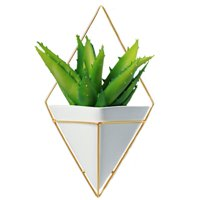 California Home Goods Large Decorative Geometric Hanging Planter Pot for Indoor Wall Decor, Planter For Succulent Plants, Air Plant, Cacti, Faux/Artificial Plants, White Ceramic/Brass, by