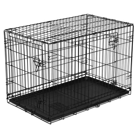"Vibrant Life 36"" Dog Folding Crate, Double Door Kennel w/Divider"