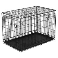"""Vibrant Life 36"""" Dog Folding Crate, Double Door Kennel w/Divider"""