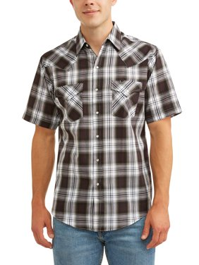 Men's Short Sleeve Plaid Western Shirt