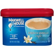 (4 Pack) Maxwell House International French Vanilla Cafe Instant Coffee, 8.4 oz Canister