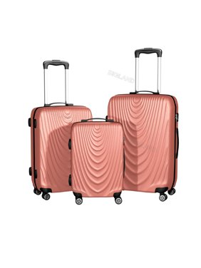 Product Image Rose Gold 3 Pcs Abs Luggage Set Hard Suitcase Spinner Travel Bag Trolley Wheels Coded
