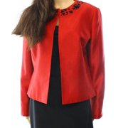 7e537fb3c47 Kasper NEW Red Shantung Black Jeweled Women s Size 4P Petite Open Jacket