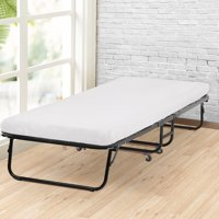 Roll Away Folding Guest Bed Frame With 4 Inch Comfort Foam Mattress Twin Size