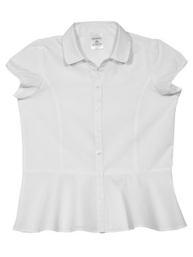 Girls' Short Sleeve Blouse with Peplum Hem