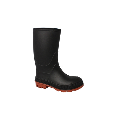 Kid's Chain-Link Sole Chore Rain Boot - Black Boots With Gold Trim