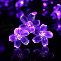 LUCKLED Cherry Blossom Solar String Lights, 23ft 50 LED Fairy Decorative LED String Lights, Waterproof Outdoor String Lights (Purple)