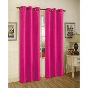 1 Panel Nancy Solid Hot Pink Semi Sheer Window Faux Silk Antique Bronze Grommets Curtain D