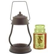Hurricane Rustic Brown Candle Warmer Gift Set - Warmer + Courtneys 26 oz Jar Candle - EUCALYPTUS