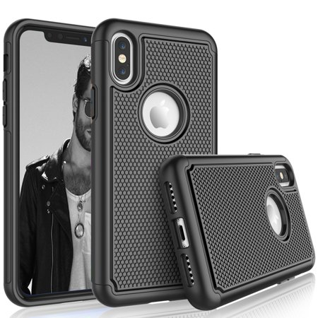 Cases For iPhone XR / iPhone XS / iPhone Xs Max / iPhone X, Tekcoo [Tmajor] Shock Absorbing [Black] Hybrid Rubber Silicone & Plastic Scratch Resistant Bumper Grip Cute Sturdy Hard Cases Cover