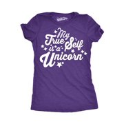 eb1a568a10a Womens My True Self Is a Unicorn Funny Magical Fairy Tale T shirt for Ladies