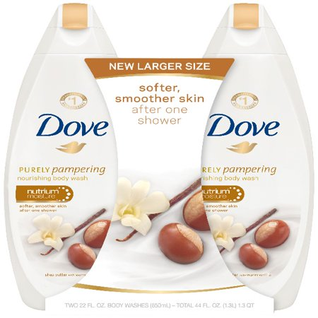 Dove Purely Pampering Shea Butter with Warm Vanilla Body Wash, 22 oz, Twin (Dove Scent)
