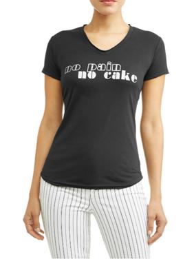 No Pain No Cake Short Sleeve V-Neck Graphic T-Shirt Women's