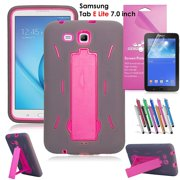 Samsung Galaxy Tab E Lite 7.0 Case, EpicGadget Heavy Duty Rugged Impact Hybrid Case with Build In Kickstand Protection Cover For Galaxy Tab E Lite 7 Inch Tablet T113 + Screen Film + Pen (Gray/Pink)