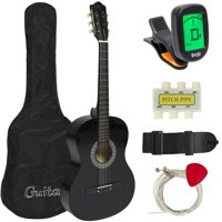 Best Choice Products 38in Beginner Acoustic Guitar Bundle Kit w/ Case, Strap, Digital E-Tuner, Pick, Pitch Pipe, Strings - Black