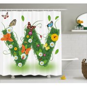 Letter W Shower Curtain Nature Inspired Green Foliage With Wildflowers Various Butterflies Vivid Palette