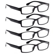 e516f6a1e6e ALTEC VISION 4 Pack Spring Hinge Black Frame Readers Reading Glasses for  Men and Women -