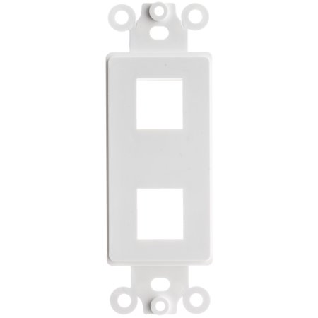 ACL Decora 2 Hole for Keystone Jack Wall Plate Insert, White, 1 - One Hole Cover Plate