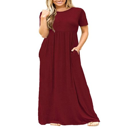 Women Boho Casual Plain Short Sleeve O-neck Loose Solid Party Long Beach Dresses Oversized Maxi (Coral Maxi Dresses For Women)