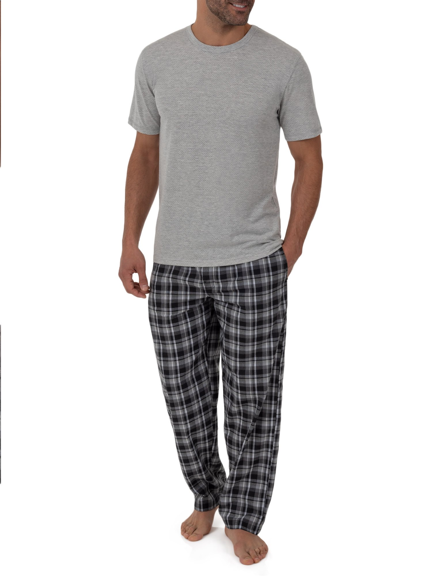 Fruit of the Loom Breathable Mesh Top with Woven Pant Pajama Set