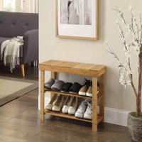 Ktaxon 2 Tier Hallway Shoe Bench Entryway Storage Natural Solid Bamboo Organizer Rack