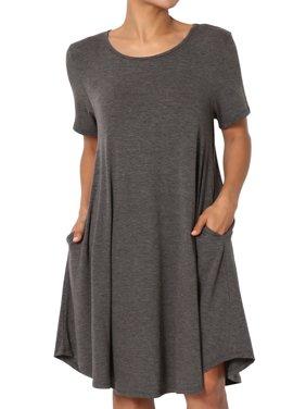 TheMogan Women's PLUS Short Sleeve Trapeze Jersey Knit Pocket T-Shirt Dress