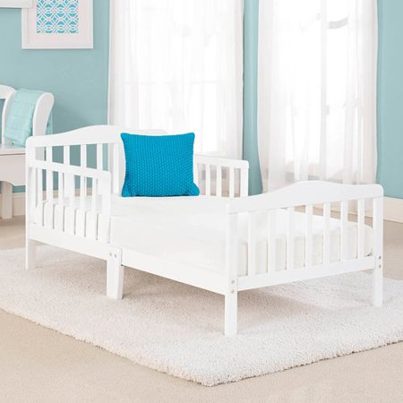 Big Oshi Contemporary Design Toddler & Kids Bed - Sturdy Wooden Frame for Extra Safety - Modern Slat Design - Great for Boys and Girls - Full Bed Frame With Headboard, in White](Ben Girl)