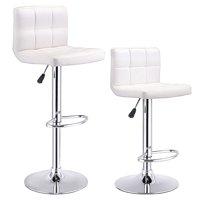 Product Image Costway Set Of 2 Bar Stools Pu Leather Adjule Barstool Swivel Pub Chairs White