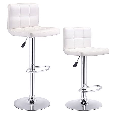 - Costway Set Of 2 Bar Stools PU Leather Adjustable Barstool Swivel Pub Chairs White