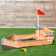 Costway Pirate Boat Wood Sandbox for Kids with Bench Seat and Flag Pirate Sandbox Toys