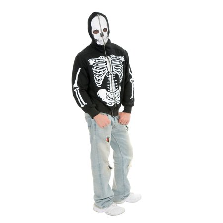 Halloween Skeleton Hoodie Adult Costume (Halloween Costumes For Male Adults)