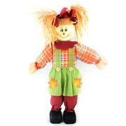 "24"" Orange Girl Scarecrow with Plaid Dress and Pigtails Halloween Decoration"