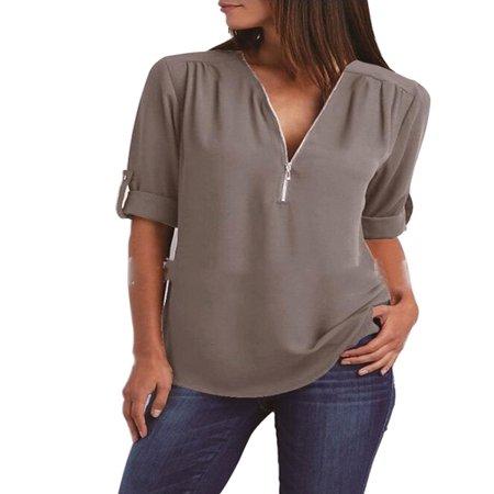 Tommyfit Women V-Neck Zipper Chiffon Loose Shirt Long Sleeve Plus Size Blouse Tops - Plus Size Naughty
