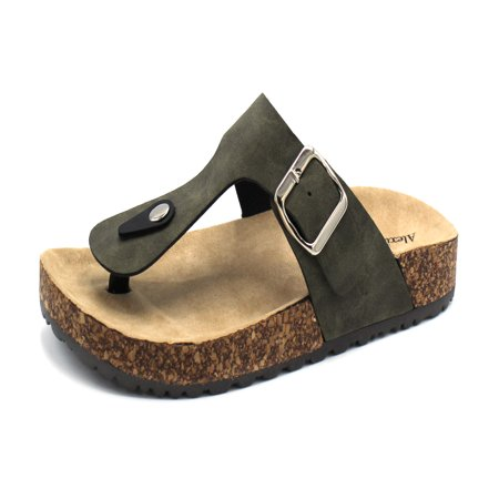 1Kylie-15 Women Double Buckle Straps Sandals Flip Flop Platform Footbed Sandals Olive - Brown Women Flat Sandals