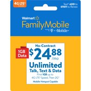 Walmart Family Mobile $24.88 Unlimited Monthly Plan (with up to 1GB at high speed, then 2G*) w Mobile Hotspot Capable (Email Delivery)