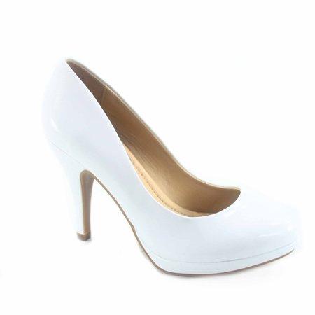 Jack-h Women's Patent Glitter Round Toe Low Platform High Heel Pump Dress Shoes