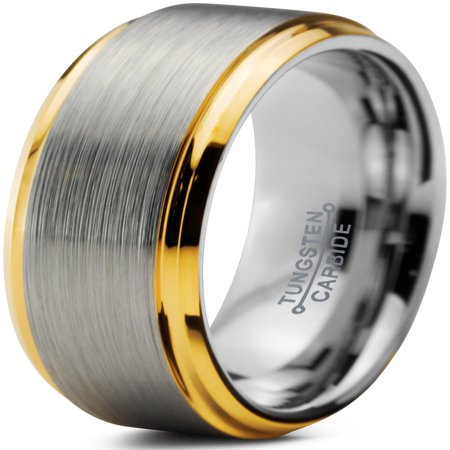 8mm Gold Plated (Tungsten Wedding Band Ring 8mm for Men Women Comfort Fit 18K Yellow Gold Plated Beveled Edge Brushed Polished Lifetime Guarantee )