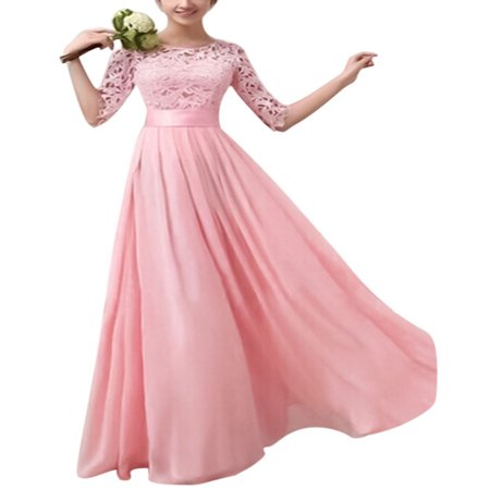 Women Long Lace Dress Evening Formal Party Prom Wedding Bridesmaid Ball Gown Fashion Ladies Half Sleeve Pageant Dresses ()