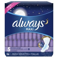 Always Maxi, Size 5, Extra Heavy Overnight Pads With Wings, Unscented (Choose Count)