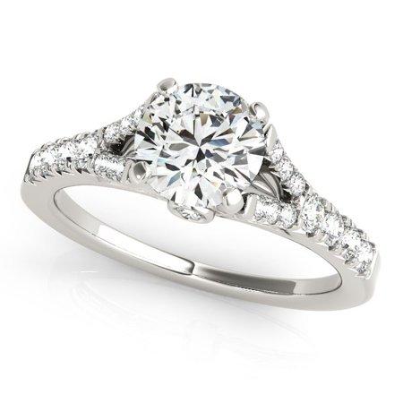 14K White Gold Split Shank Round Prong Set Diamond Engagement Ring (1 3/8 ct. tw.) Size - 8.5 1 Ct Prong Set