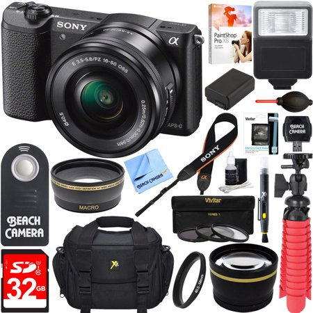 Sony Alpha a5100 HD 1080p Mirrorless Digital Camera Black + 16-50mm Lens Kit + 32GB Accessory Bundle + DSLR Photo Bag + Extra Battery + Wide Angle Lens + 2x Telephoto Lens + Flash + Remote +