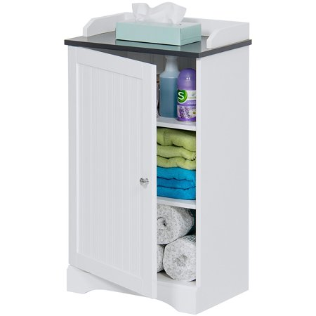 Best Choice Products Bathroom Floor Storage Cabinet w/ Versatile Door (White) ()