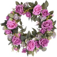 """Coolmade Artificial Peony Flower Wreath - 15"""" Pink Flower Door Wreath with Green Leaves Spring Wreath for Front Door, Wedding, Wall, Home Decor"""