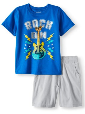 Toddler Boys' Graphic T-Shirt and Denim or Twill Shorts, 2-Piece Outfit Set
