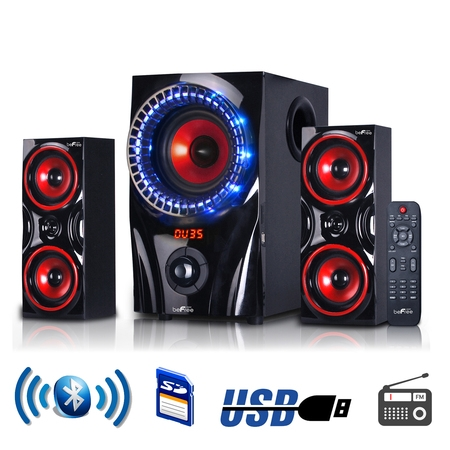 beFree Sound BFS-99X 2.1 Channel Multimedia Entertainment Shelf Bluetooth Speaker System in Red ()